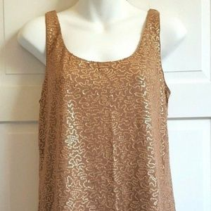 Talbots Tank Top Sequined MEDIUM Brown Lined